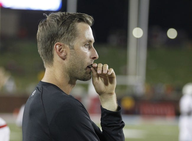 Aug 30, 2013; Dallas, TX, USA; Texas Tech Red Raiders head coach Kliff Kingsbury watches play during the game against the Southern Methodist Mustangs at Gerald J. Ford Stadium. Texas Tech won 41-23. Mandatory Credit: Tim Heitman-USA TODAY Sports