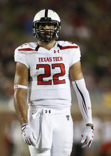Aug 30, 2013; Dallas, TX, USA; Texas Tech Red Raiders tight end Jace Amaro (22) on the field during the game Southern Methodist Mustangs at Gerald J. Ford Stadium. Texas Tech won 41-23. Mandatory Credit: Tim Heitman-USA TODAY Sports