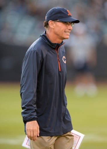Aug 23, 2013; Oakland, CA, USA; Chicago Bears coach Marc Trestman before the game against the Oakland Raiders at O.co Coliseum. Mandatory Credit: Kirby Lee-USA TODAY Sports