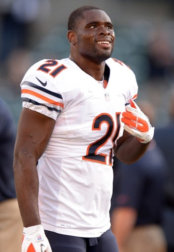 Aug 23, 2013; Oakland, CA, USA; Chicago Bears safety Major Wright (21) against the Oakland Raiders at O.co Coliseum. Mandatory Credit: Kirby Lee-USA TODAY Sports