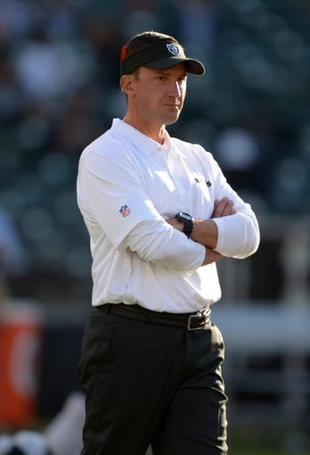 Aug 23, 2013; Oakland, CA, USA; Oakland Raiders coach Dennis Allen reacts during the game against the Chicago Bears at O.co Coliseum. Mandatory Credit: Kirby Lee-USA TODAY Sports