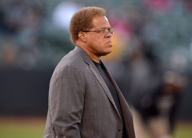 Aug 23, 2013; Oakland, CA, USA; Oakland Raiders general manager Reggie McKenzie during the game against the Chicago Bears at O.co Coliseum. Mandatory Credit: Kirby Lee-USA TODAY Sports