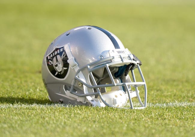 Aug 23, 2013; Oakland, CA, USA; General view of an Oakland Raiders helmet on the field during the game against the Chicago Bears at O.co Coliseum. Mandatory Credit: Kirby Lee-USA TODAY Sports