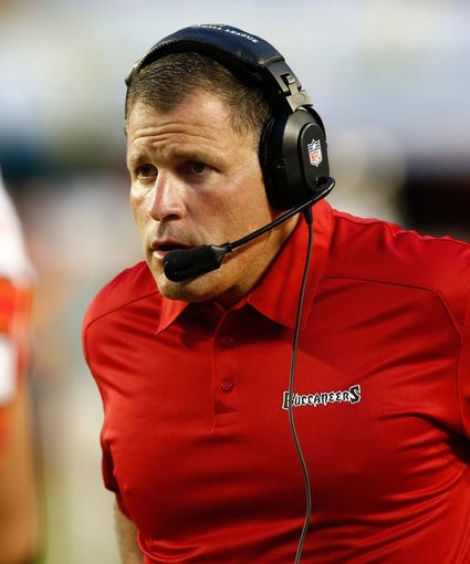 Aug 24, 2013; Miami Gardens, FL, USA; Tampa Bay Buccaneers head coach Greg Schiano in the first quarter against the Miami Dolphins at Sun Life Stadium.  Mandatory Credit: Robert Mayer-USA TODAY Sports
