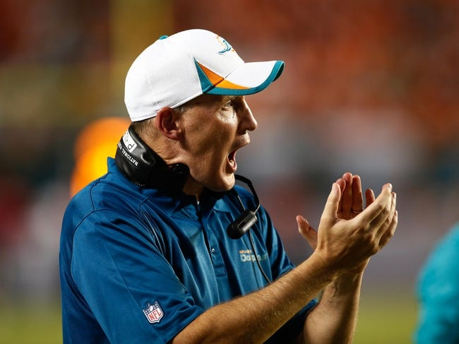 Aug 24, 2013; Miami Gardens, FL, USA; Miami Dolphins head coach Joe Philbin in the second half of a game against the Tampa Bay Buccaneers at Sun Life Stadium. The Tampa Bay Buccaneers won 17-16.  Mandatory Credit: Robert Mayer-USA TODAY Sports