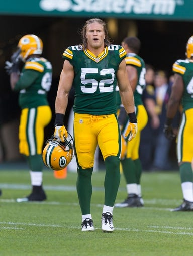 Aug 23, 2013; Green Bay, WI, USA; Green Bay Packers linebacker Clay Matthews (52) during warmups prior to the game against the Seattle Seahawks at Lambeau Field.  Seattle won 17-10.  Mandatory Credit: Jeff Hanisch-USA TODAY Sports