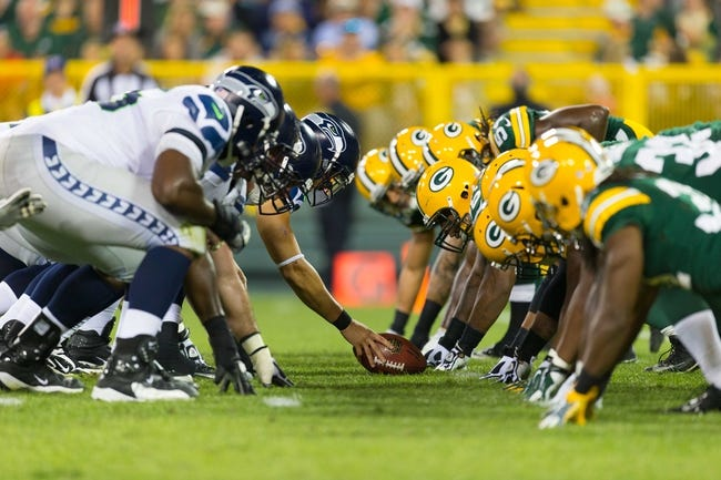 Aug 23, 2013; Green Bay, WI, USA; The Seattle Seahawks line up for a play during the game against the Green Bay Packers at Lambeau Field.  Seattle won 17-10.  Mandatory Credit: Jeff Hanisch-USA TODAY Sports