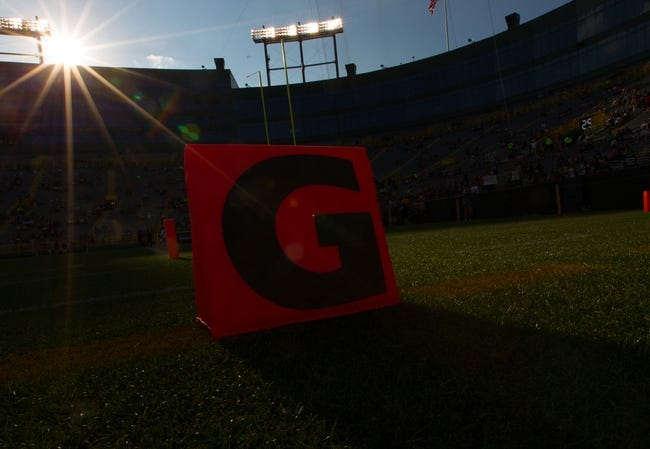 Aug 23, 2013; Green Bay, WI, USA; An end zone marker sits on the field during warmups prior to the game between the Seattle Seahawks and Green Bay Packers at Lambeau Field.  Seattle won 17-10.  Mandatory Credit: Jeff Hanisch-USA TODAY Sports