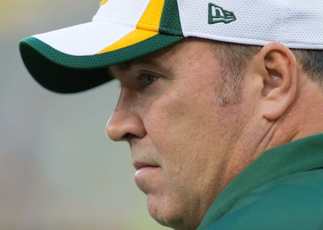 Aug 23, 2013; Green Bay, WI, USA; Green Bay Packers head coach Mike McCarthy during warmups prior to the game against the Seattle Seahawks at Lambeau Field.  Seattle won 17-10.  Mandatory Credit: Jeff Hanisch-USA TODAY Sports