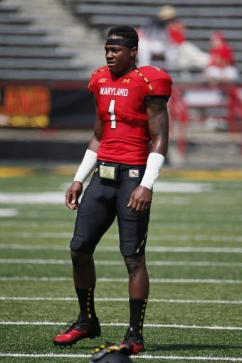 Aug 31, 2013; College Park, MD, USA; Maryland Terrapins wide receiver Stefon Diggs (1) warms up prior to the game against the Florida International Panthers at Byrd Stadium. Mandatory Credit: Mitch Stringer-USA TODAY Sports