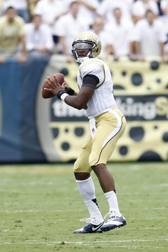 Aug 31, 2013; Atlanta, GA, USA; Georgia Tech Yellow Jackets quarterback Vad Lee (2) throws a pass against the Elon Phoenix in the first quarter at Bobby Dodd Stadium. Mandatory Credit: Brett Davis-USA TODAY Sports