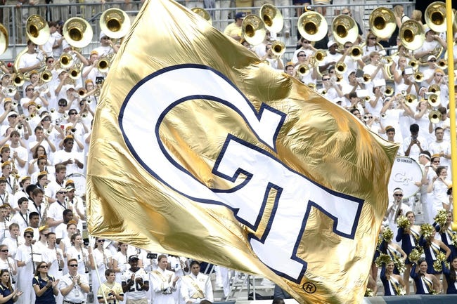 Aug 31, 2013; Atlanta, GA, USA; General view of the Georgia Tech Yellow Jackets flag after a touchdown against the Elon Phoenix in the first quarter at Bobby Dodd Stadium. Mandatory Credit: Brett Davis-USA TODAY Sports
