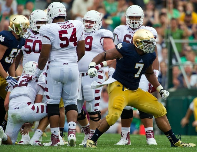 Aug 31, 2013; South Bend, IN, USA; Notre Dame Fighting Irish defensive end Stephon Tuitt (7) celebrates after sacking Temple Owls quarterback Connor Reilly (12) in the second quarter at Notre Dame Stadium. Notre Dame won 28-6. Mandatory Credit: Matt Cashore-USA TODAY Sports