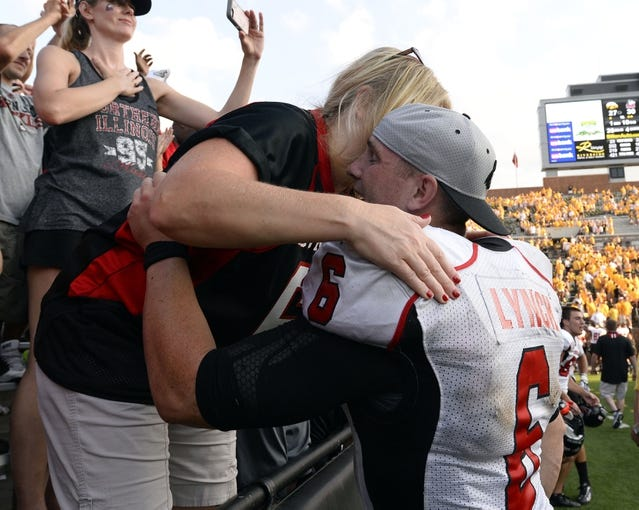 Aug 31, 2013; Iowa City, IA, USA; Northern Illinois Huskies quarterback Jordan Lynch (6) reacts after the game against the Iowa Hawkeyes at Kinnick Stadium. Northern Illinois defeats Iowa 30-27.Mandatory Credit: Mike DiNovo-USA TODAY Sports
