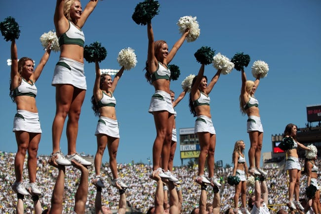 Aug 31, 2013; Eugene, OR, USA; Oregon ducks cheerleaders against the Nicholls State Colonels at Autzen Stadium. Mandatory Credit: Scott Olmos-USA TODAY Sports