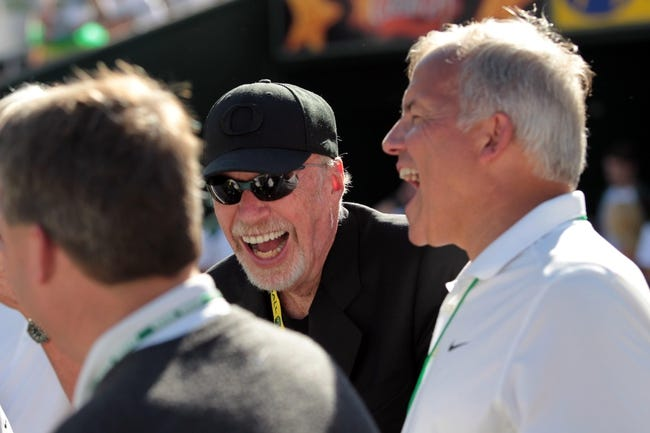 Aug 31, 2013; Eugene, OR, USA; Nike founder Phil Knight attends the game between the Oregon Ducks and Nicholls State Colonels at Autzen Stadium. Mandatory Credit: Scott Olmos-USA TODAY Sports