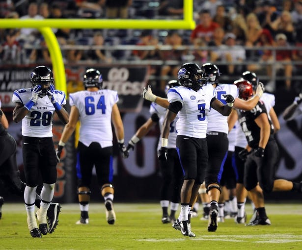 Aug 31, 2013; San Diego, CA, USA; Eastern Illinois Panthers players celebrate after returning a punt for a touchdown during the second half against the San Diego State Aztecs at Qualcomm Stadium. Mandatory Credit: Christopher Hanewinckel-USA TODAY Sports