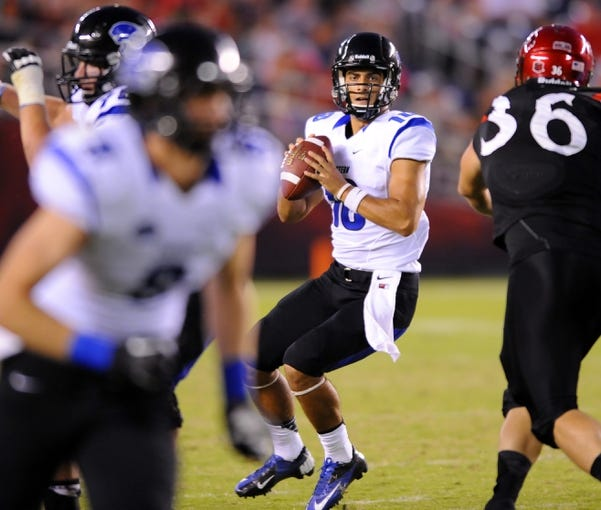 Aug 31, 2013; San Diego, CA, USA; Eastern Illinois Panthers quarterback Jimmy Garoppolo (10) looks to pass during the second half against the San Diego State Aztecs at Qualcomm Stadium. Mandatory Credit: Christopher Hanewinckel-USA TODAY Sports