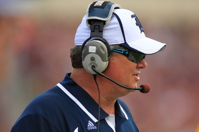 Aug 31, 2013; College Station, TX, USA; Rice Owls head coach David Bailiff coaches against the Texas A&M during the second half at Kyle Field. Texas A&M won 52-31. Mandatory Credit: Thomas Campbell-USA TODAY Sports