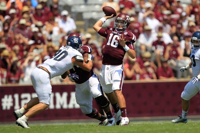 Aug 31, 2013; College Station, TX, USA; Texas A&M Aggies quarterback Matt Joeckel (16) passes against the Rice Owls during the first quarter at Kyle Field. Mandatory Credit: Thomas Campbell-USA TODAY Sports