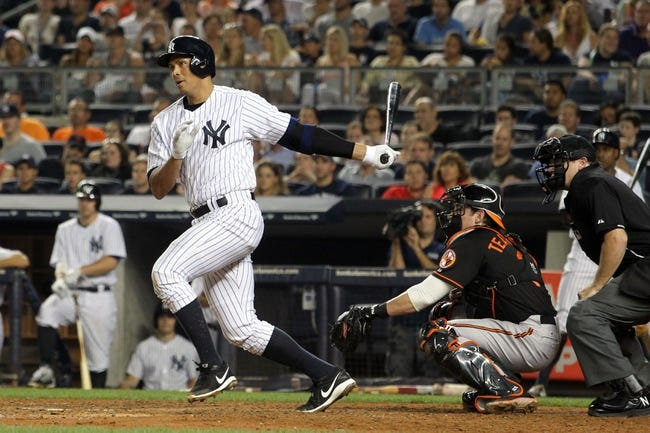 Aug 30, 2013; Bronx, NY, USA; New York Yankees third baseman Alex Rodriguez (13) bats against the Baltimore Orioles during a game at Yankee Stadium. Mandatory Credit: Brad Penner-USA TODAY Sports