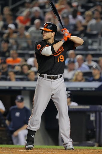 Aug 30, 2013; Bronx, NY, USA; Baltimore Orioles first baseman Chris Davis (19) bats against the New York Yankees during a game at Yankee Stadium. Mandatory Credit: Brad Penner-USA TODAY Sports