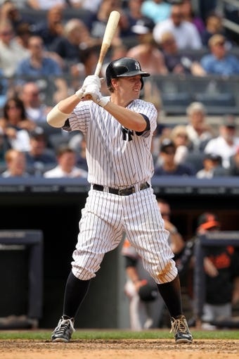 Aug 31, 2013; Bronx, NY, USA; New York Yankees third baseman Mark Reynolds (39) bats against the Baltimore Orioles during a game at Yankee Stadium. Mandatory Credit: Brad Penner-USA TODAY Sports