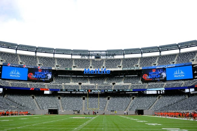 Aug 31, 2013; East Rutherford, NJ, USA; General view of MetLife Stadium prior to the game between the Penn State Nittany Lions and the Syracuse Orange.  Penn State defeated Syracuse 23-17.  Mandatory Credit: Rich Barnes-USA TODAY Sports