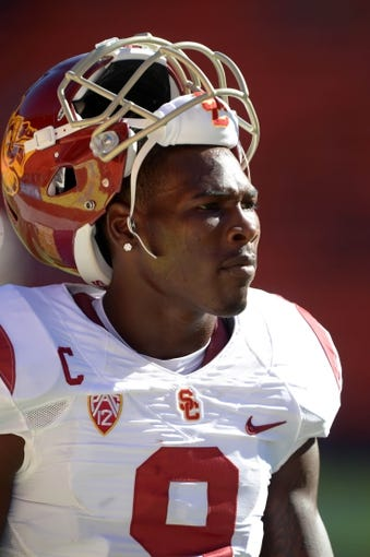 Aug 29, 2013; Honolulu, HI, USA; Southern California Trojans receiver Marqise Lee (9) before the game against the Hawaii Rainbow Warriors at Aloha Stadium. Mandatory Credit: Kirby Lee-USA TODAY Sports