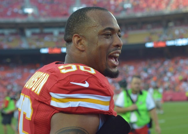 Aug 29, 2013; Kansas City, MO, USA; Kansas City Chiefs inside linebacker Derrick Johnson (56) on the sidelines before the game against the Green Bay Packers at Arrowhead Stadium. The Chiefs won 30-8. Mandatory Credit: Denny Medley-USA TODAY Sports
