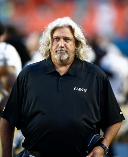 Aug 29, 2013; Miami Gardens, FL, USA;  New Orleans Saints defensive coordinator Rob Ryan in the first quarter of a game against the Miami Dolphins at Sun Life Stadium. Mandatory Credit: Robert Mayer-USA TODAY Sports