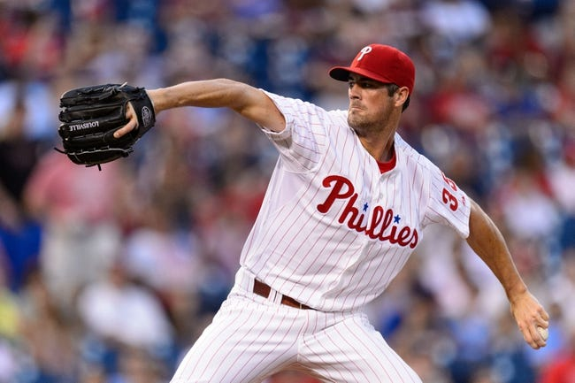 Sep 2, 2013; Philadelphia, PA, USA;  Philadelphia Phillies pitcher Cole Hamels (35) delivers to the plate during the first inning against the Washington Nationals at Citizens Bank Park. Mandatory Credit: Howard Smith-USA TODAY Sports