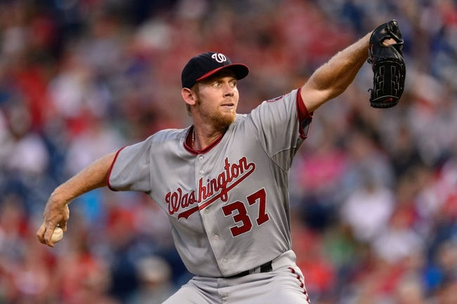 Sep 2, 2013; Philadelphia, PA, USA;  Washington Nationals pitcher Stephen Strasburg (37) delivers to the plate during the first inning against the Philadelphia Phillies at Citizens Bank Park. Mandatory Credit: Howard Smith-USA TODAY Sports
