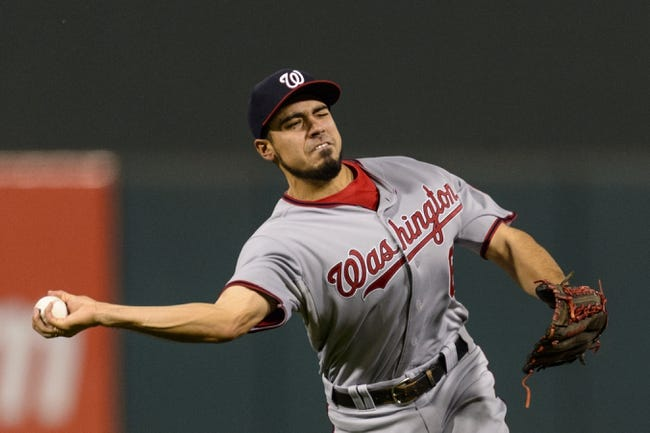 Sep 2, 2013; Philadelphia, PA, USA; Washington Nationals second baseman Anthony Rendon (6) throws to first base during the fifth inning against the Philadelphia Phillies at Citizens Bank Park. The Phillies defeated the Nationals 3-2. Mandatory Credit: Howard Smith-USA TODAY Sports