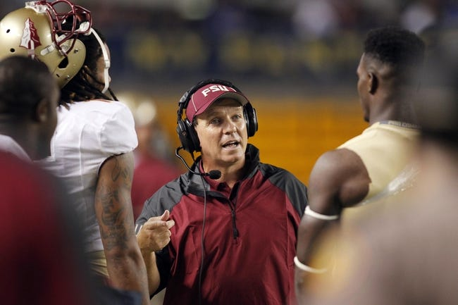 Sep 2, 2013; Pittsburgh, PA, USA; Florida State Seminoles head coach Jimbo Fisher (center) talks to players on the sidelines against the Pittsburgh Panthers during the fourth quarter at Heinz Field. The Florida State Seminoles won 41-13. Mandatory Credit: Charles LeClaire-USA TODAY Sports