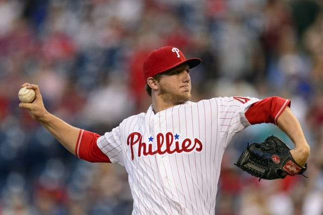 Sep 3, 2013; Philadelphia, PA, USA; Philadelphia Phillies pitcher Ethan Martin (49) delivers to the plate during the first inning against the Washington Nationals at Citizens Bank Park. Mandatory Credit: Howard Smith-USA TODAY Sports