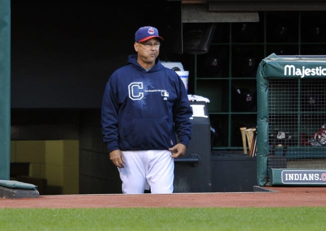 Sep 3, 2013; Cleveland, OH, USA; Cleveland Indians manager Terry Francona (17) watches in the first inning during a game against the Baltimore Orioles at Progressive Field. Mandatory Credit: David Richard-USA TODAY Sports