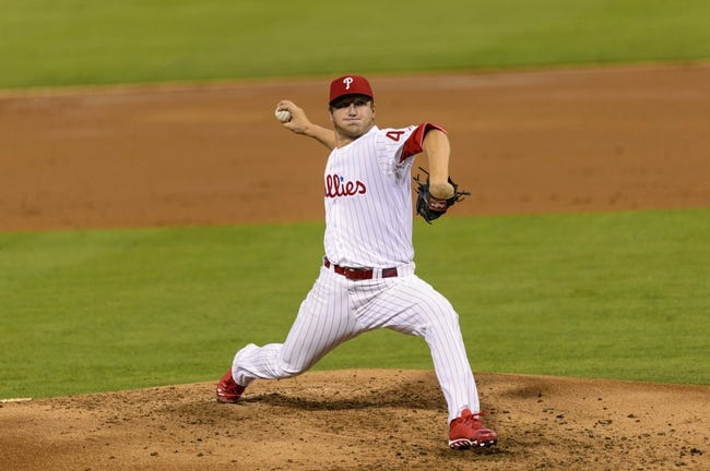 Sep 3, 2013; Philadelphia, PA, USA; Philadelphia Phillies pitcher Ethan Martin (49) delivers to the plate during the third inning against the Washington Nationals at Citizens Bank Park. Mandatory Credit: Howard Smith-USA TODAY Sports