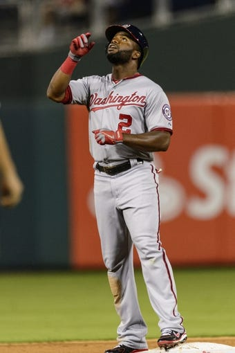Sep 3, 2013; Philadelphia, PA, USA; Washington Nationals center fielder Denard Span (2) celebrates hitting a double during the fifth inning against the Philadelphia Phillies at Citizens Bank Park. Mandatory Credit: Howard Smith-USA TODAY Sports