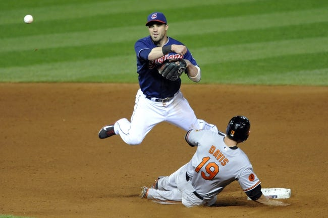 Sep 3, 2013; Cleveland, OH, USA; Cleveland Indians second baseman Jason Kipnis (22) throws to first base after forcing out Baltimore Orioles first baseman Chris Davis (19) on a fielder's choice in the sixth inning at Progressive Field. Mandatory Credit: David Richard-USA TODAY Sports