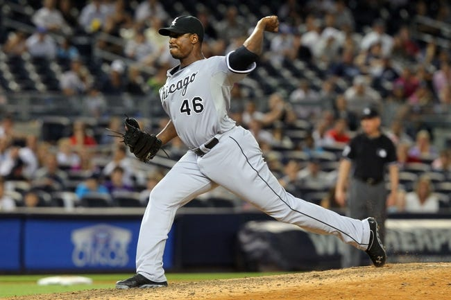 Sep 3, 2013; Bronx, NY, USA; Chicago White Sox relief pitcher Donnie Veal (46) pitches against the New York Yankees during the eighth inning of a game at Yankee Stadium. Mandatory Credit: Brad Penner-USA TODAY Sports