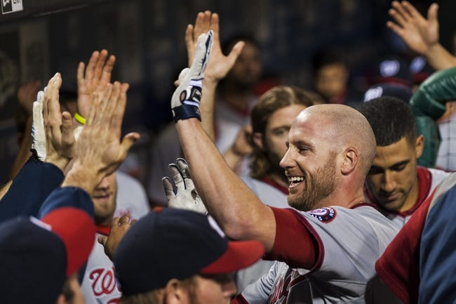 Sep 3, 2013; Philadelphia, PA, USA; Washington Nationals  pinch hitter Corey Brown (10) celebrates hitting a home run with teammates during the seventh inning against the Philadelphia Phillies at Citizens Bank Park. The Nationals defeated the Phillies 9-6. Mandatory Credit: Howard Smith-USA TODAY Sports