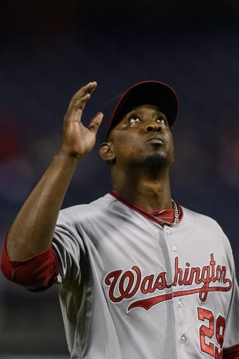 Sep 3, 2013; Philadelphia, PA, USA; Washington Nationals pitcher Rafael Soriano (29) celebrates after pitching the ninth inning against the Philadelphia Phillies at Citizens Bank Park. The Nationals defeated the Phillies 9-6. Mandatory Credit: Howard Smith-USA TODAY Sports