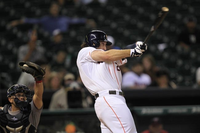 Sep 3, 2013; Houston, TX, USA; Houston Astros first baseman Brett Wallace (29) strikes out to end the inning against the Minnesota Twins during the eleventh inning at Minute Maid Park. Mandatory Credit: Thomas Campbell-USA TODAY Sports
