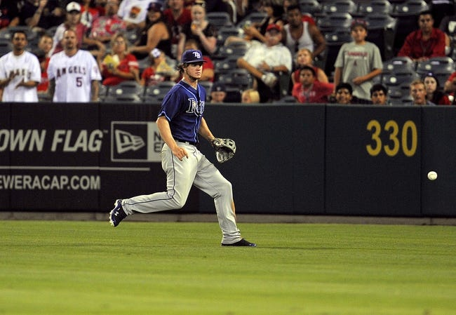 September 3, 2013; Anaheim, CA, USA; Tampa Bay Rays right fielder Wil Myers (9) goes after a fly ball during the sixth inning against the Los Angeles Angels at Angel Stadium of Anaheim. Mandatory Credit: Gary A. Vasquez-USA TODAY Sports