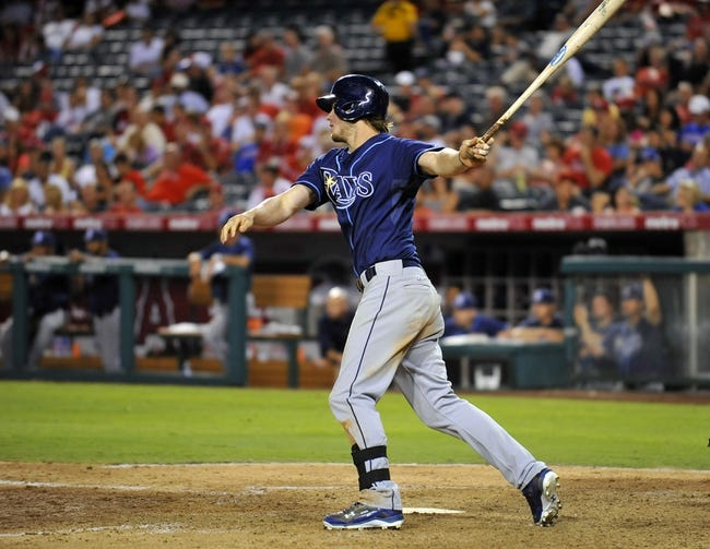 September 3, 2013; Anaheim, CA, USA; Tampa Bay Rays right fielder Wil Myers (9) hits a double during the seventh inning against the Los Angeles Angels at Angel Stadium of Anaheim. Mandatory Credit: Gary A. Vasquez-USA TODAY Sports