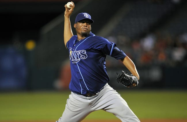September 3, 2013; Anaheim, CA, USA; Tampa Bay Rays starting pitcher Roberto Hernandez (40) pitches during the seventh inning against the Los Angeles Angels at Angel Stadium of Anaheim. Mandatory Credit: Gary A. Vasquez-USA TODAY Sports
