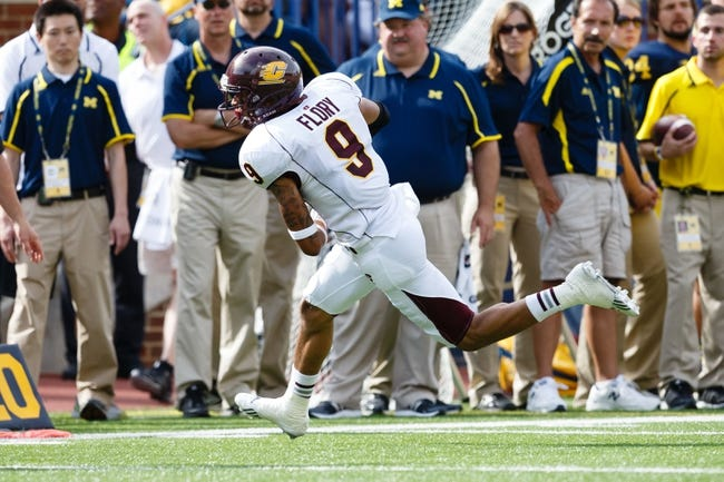 Aug 31, 2013; Ann Arbor, MI, USA; Central Michigan Chippewas wide receiver Andrew Flory (9) runs the ball against the Michigan Wolverines at Michigan Stadium. Mandatory Credit: Rick Osentoski-USA TODAY Sports