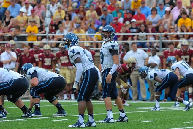 Aug 31, 2013; Boston, MA, USA; Villanova Wildcats quarterback John Robertson (19) looks over on the sidelines during the second half against the Boston College Eagles at Alumni Stadium. Mandatory Credit: Bob DeChiara-USA TODAY Sports