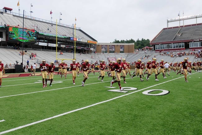 Aug 31, 2013; Boston, MA, USA; The Boston College Eagles on the field for pre game warm ups prior to a game against the Villanova Wildcats at Alumni Stadium. Mandatory Credit: Bob DeChiara-USA TODAY Sports